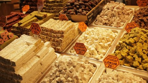 A Turkish delight stall in Spice Bazaar in Istanbul