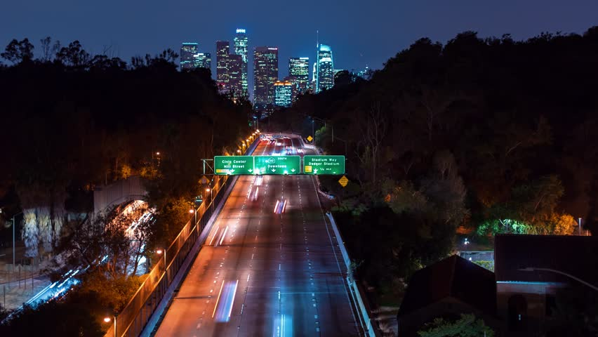 Time-lapse of the 110 expressway headed toward Downtown Los Angeles at night   Shutterstock HD Video #33300721
