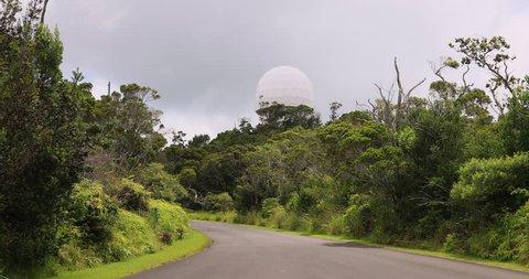 Radome air traffic radar waimea canyon kauai hawaii  air traffic control  facility  garden isle  jungle, rain forest, deep valley, high mountains   economy tourism based