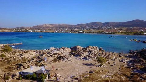 Spring 2017: Aerial bird's eye view video taken by drone of famous beach of Kolympithres, Paros island, Cyclades, Greece