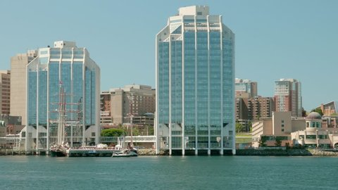 A cool view of the skyline of Halifax Nova Scotia Canada from the Ocean front harbor