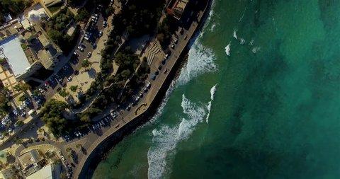 Ascending birds eye view of the streets near Jaffa Beach