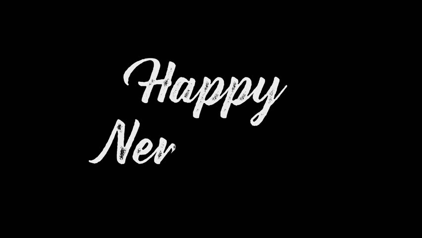 Happy New Year Handwriting Animation. Calligraphy motion graphics. Happy New Year Flat animation. Available in 4K FullHD and HD video 2D render footage.