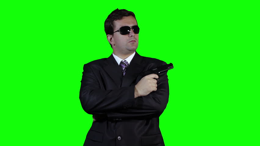 Bodyguard with Pistol Gun Watching Greenscreen 32