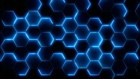 futuristic abstract hexagonal grid background growth line Geometric Surface Loop light hexagon cell black background broadcast neon High-tech 3D animation Hexagon bright clean minimal pattern footage