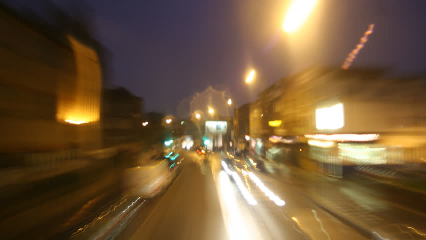 timelapse of london city street on a wet night. From Hackney to London Bridge. Similar clips available