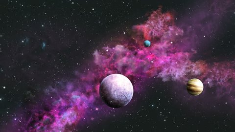 Space traveling in the purple galaxy with planets looped video