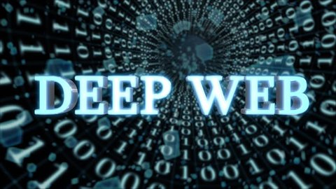 "Seamless looping 3d animated futuristic motherboard and data tunnel with the animated text ""Deep Web"" in 4K resolution"