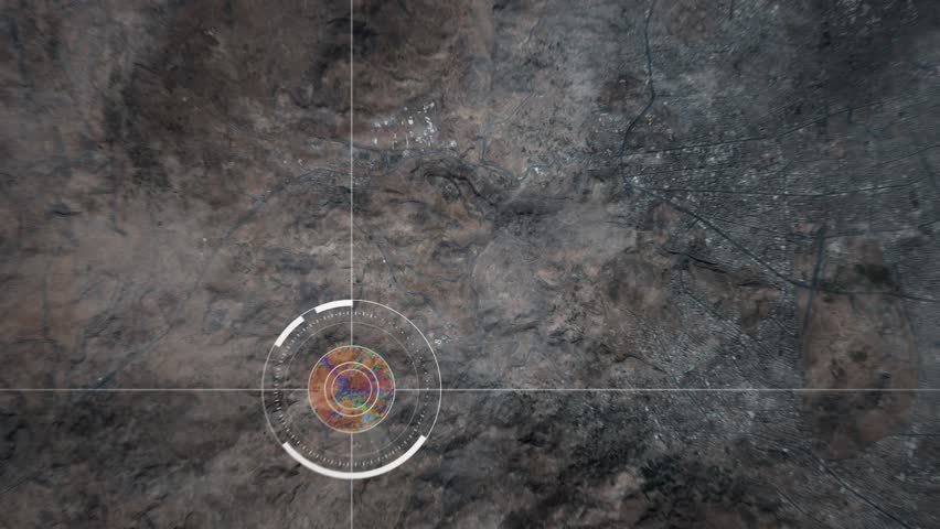 Surveillance drone camera scanning a city in the middle east desert, POV of drone or satellite with HUD and heat camera monitoring Sanaa in Yemen