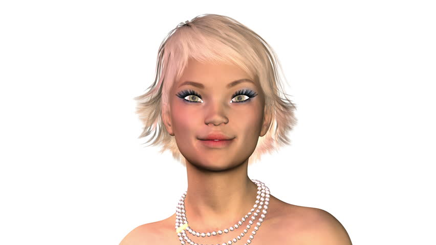 Digital 3D Animation of a flirting female Face