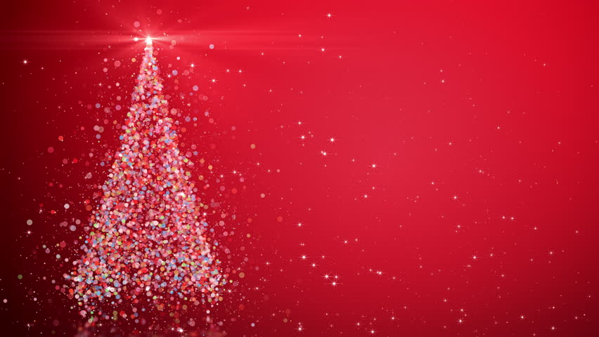 Merry Christmas greeting video card. Christmas tree with shining light, falling snowflakes and stars, 4K video background | Shutterstock HD Video #33508477