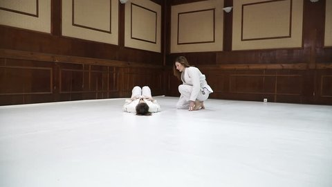 Fight. Girls train for training in judo and jujitsu