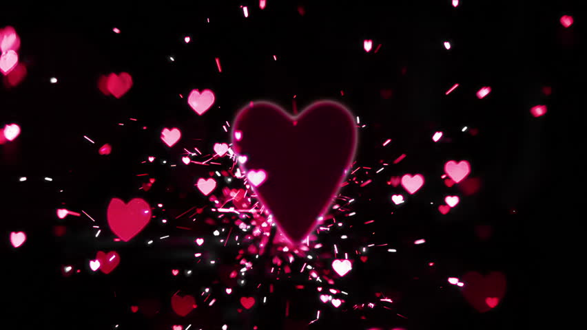 Pink Heart Confetti And Sparks Flying Against In Slow Motion Hd Stock Video