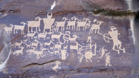 Great Hunt Panel petroglyph in Nine Mile Canyon panning from left side of artwork to right side.