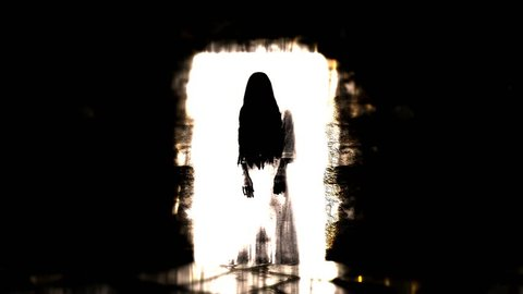 Ghost girl. Scary ghost in the White door