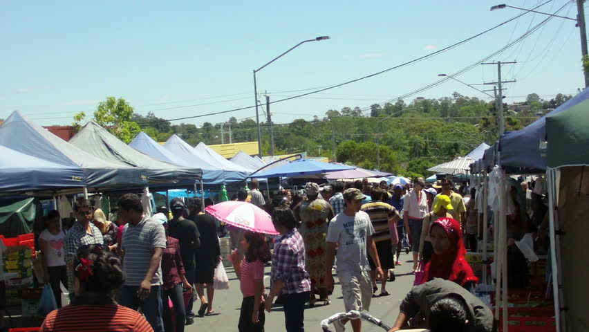 Brisbane - Australia circa 2013 - Multicultural market. Many races and faiths interact at a local market in one of Brisbane's most disadvantaged suburbs, Woodridge.