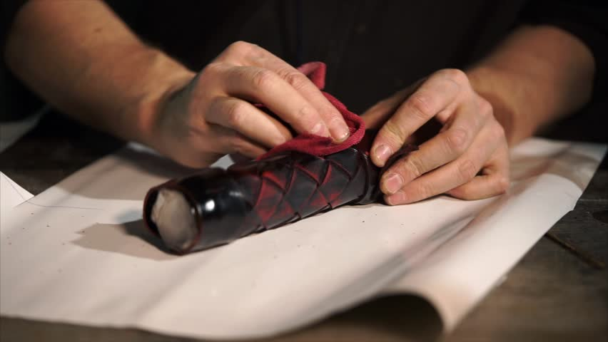 Close-up Shot Of Leather Handiwork. Craftsman Making Wicker Case ...