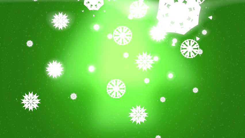 Green Glowing Snowflake Holiday Winter Background