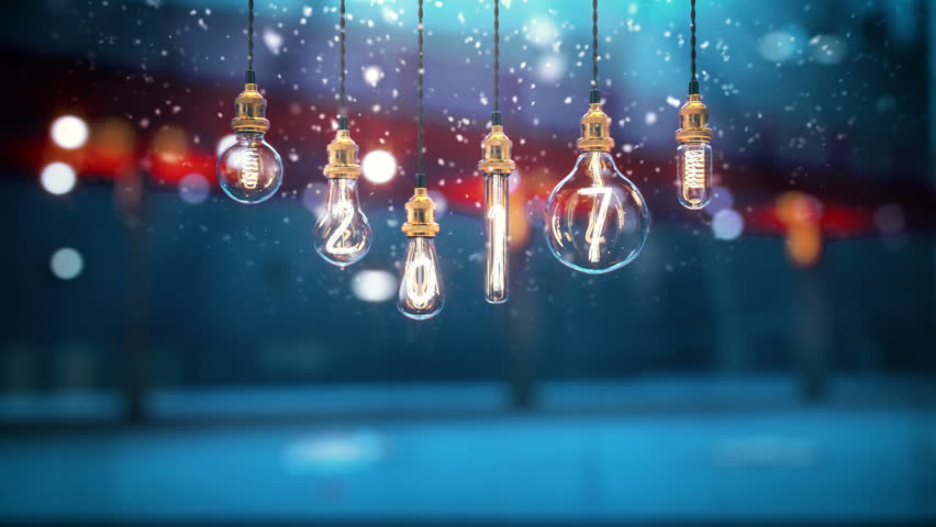 Turning on 2018 edison light bulb. Christmas light, snow in God rays. New year 2018. | Shutterstock HD Video #33589051