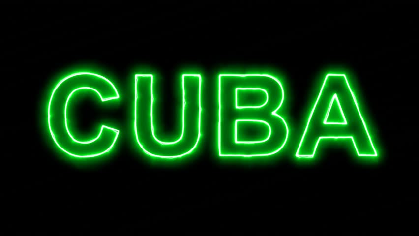 Neon flickering green country name CUBA in the haze. Alpha channel Premultiplied - Matted with color black
