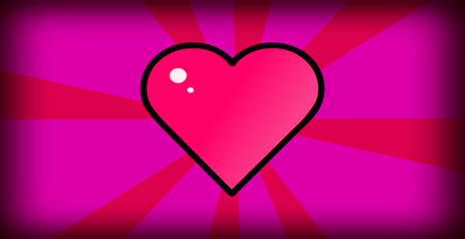 Pink cartoon heart animation on moving background.