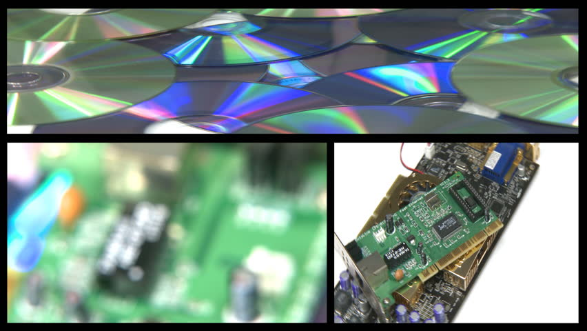 1000 circuiboard stock video clips and footage (royalty freemontage computer technology rotating over cd