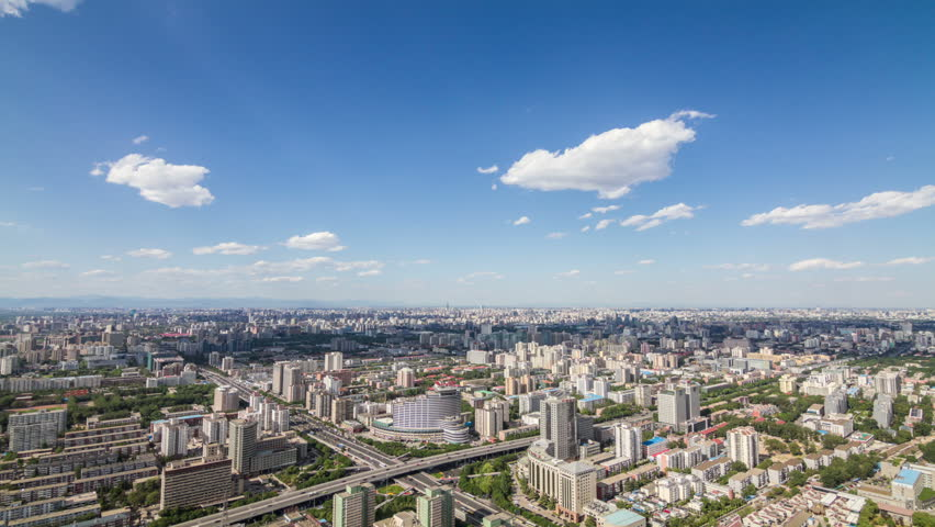 Aerial view of Beijing city time lapse