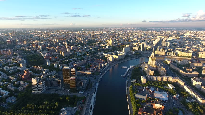 Bird's eye view of Moscow panorama with high buildings in districts on river banks, scenic view of russian capital with historic center and modern constructions | Shutterstock HD Video #33683641