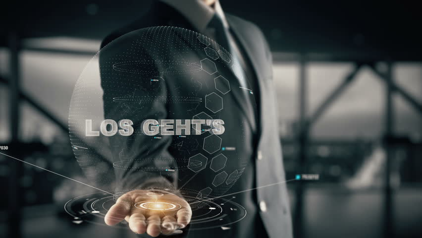 Los geht's with hologram businessman concept, in English Here we go