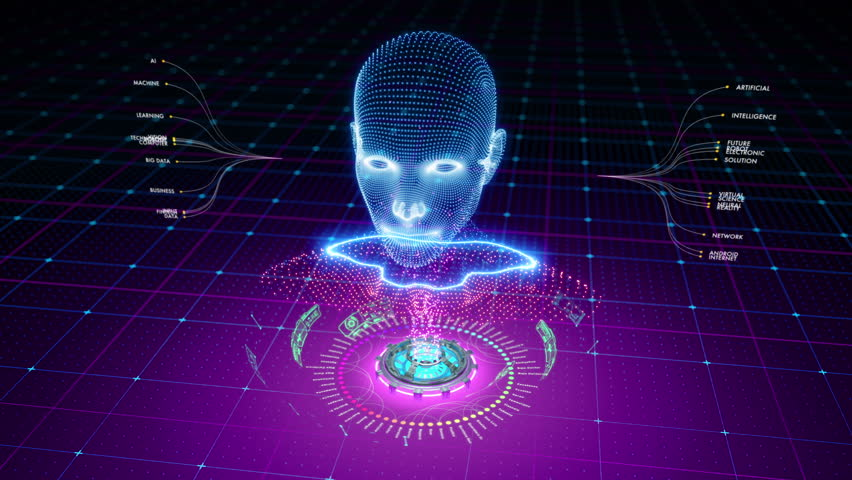 Particles form a bright futuristic shape of human or robot head. Great animation to be used with Artificial Intelligence related media. | Shutterstock HD Video #33707641