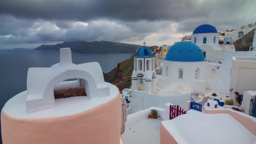 Storm sky santorini island oia town famous rooftop coastline panorama 4k timelapse greece | Shutterstock HD Video #33707941
