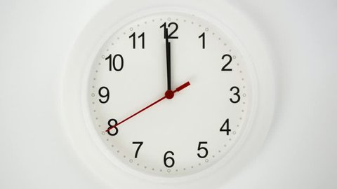 Close up of a white ticking clock, midnight