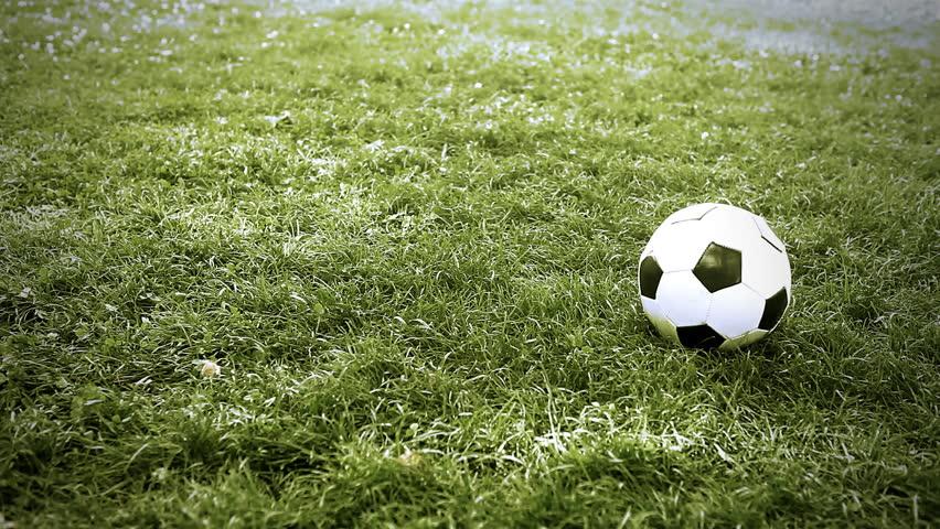 Soccer ball on the grass of football field