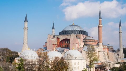 Exterior of the Hagia Sophia in Sultanahmet, Istanbul, on sunny day timelapse