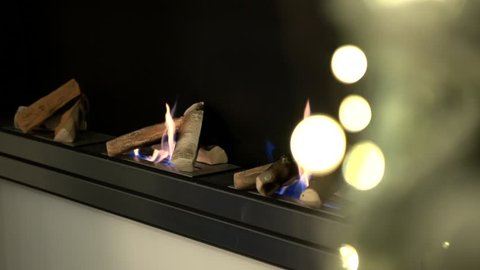 Contemporary wall mount biofuel ethanol fireplace with burning fire and decorative fireplace logs. Christmas tree gold lights shining on foreground.