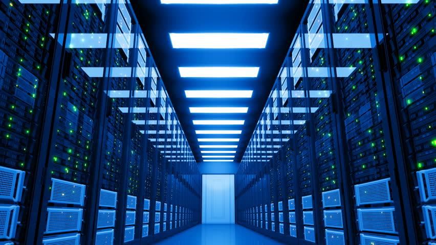 Power Failure in Datacenter. Blackout in Server Room. Electricity Problem in Modern Data Center Storage. 4k UHD. | Shutterstock HD Video #33831382
