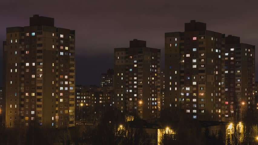 House. City. People. Population. Electricity. Electricity. Shine. A life. Night city. Night. Window. High-rise building.   Shutterstock HD Video #33880291