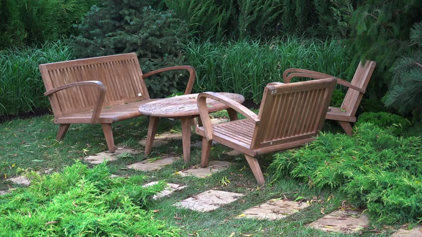 Wooden Outdoor Furniture In The Stock Footage Video 100 Royalty Free 33906241 Shutterstock