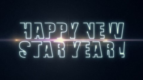 soft blue laser neon HAPPY NEW STAR YEAR text with shiny light optical flares animation on black background - new quality retro vintage motion dynamic holiday joyful sale video footage loop