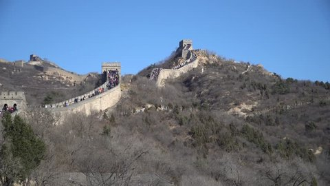 Unidentified People Walking on the Great Wall of China Badaling on a Cold Winters Day 4K