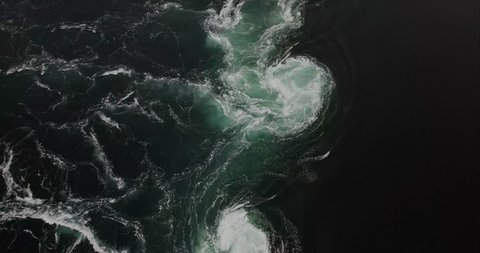 Saltstraumen sea whirlpools natural phenomenon in Norway view from above