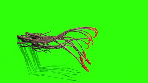 Monstrous Hooked Tentacles Attack Wall Side Green Screen 3D Rendering Animation