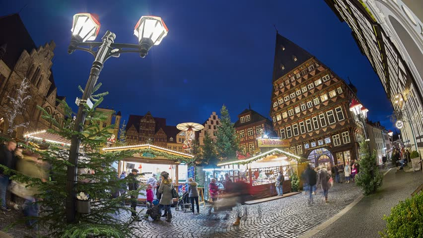 Christmas Market on the historic market place in Hildesheim, Germany. Time lapse.   Shutterstock HD Video #33954472