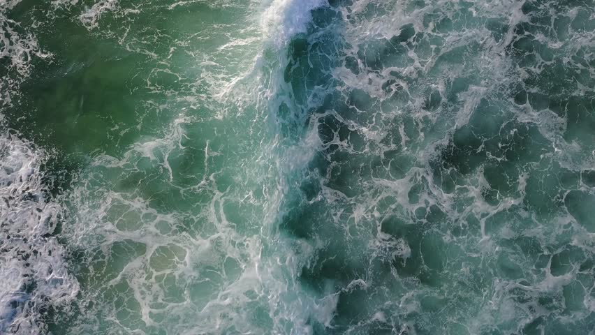 Top view on ocean with waves. Still camera. D-log. #33959101