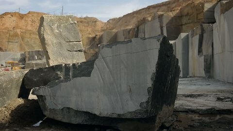 Panoramic shot of Extraction of granite stone in a quarry
