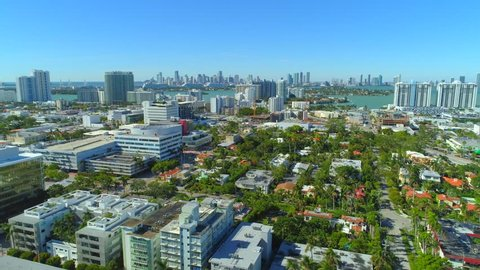 Aerial drone Miami Beach modern architecture