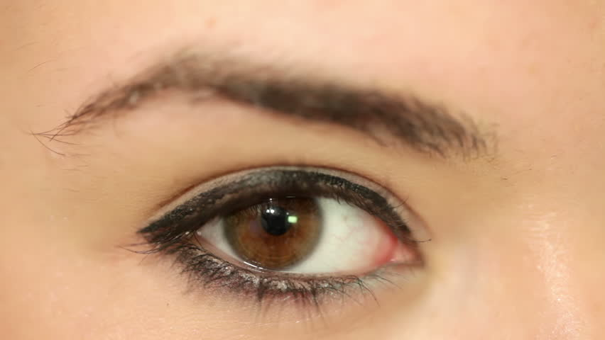 Young beautiful woman's eye. Shallow depth of field. Closeup.