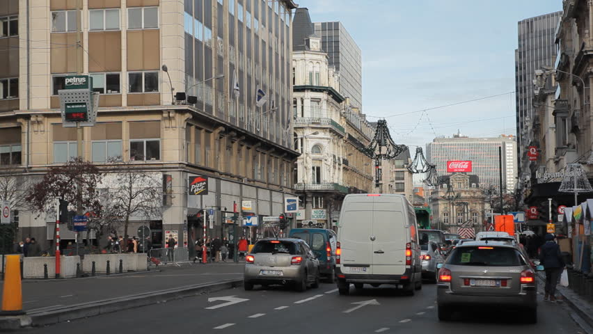 BRUSSELS, BELGIUM - DECEMBER 20: Traffic Jam in City Center Brussels, Belgium on December 20, 2011.