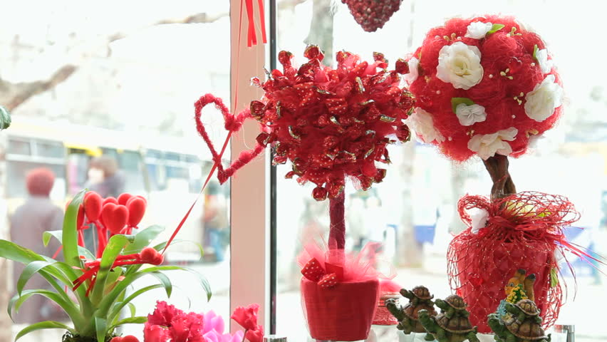 Valentines Day Window Display Decoration Stock Footage Video 100