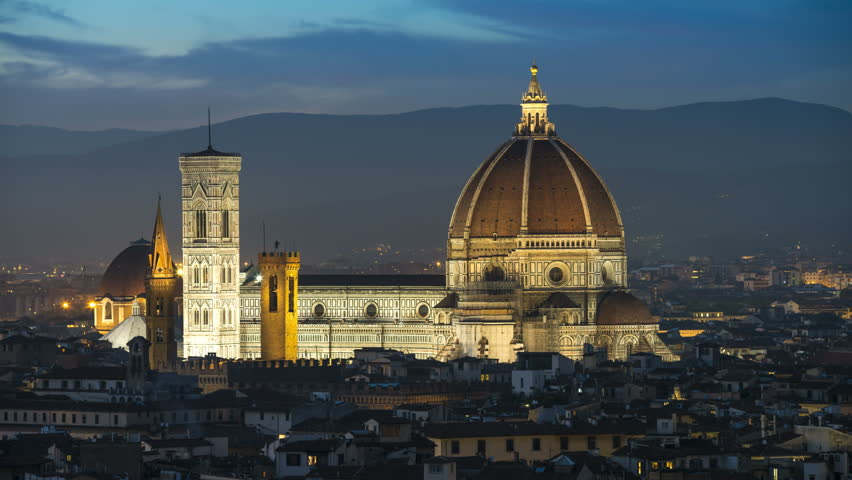 Cathedral di Santa Maria del Fiore Florence Italy at night view from Piazzale Michelangelo, Timelapse Video. Duomo Firence.